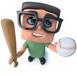 3d Funny cartoon nerd geek hacker character holding a baseball bat and ball. 3d render of a funny cartoon nerd geek hacker character holding a baseball bat and royalty free illustration