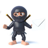 3d Funny cartoon ninja assassin warrior character holding an envelope mail message Stock Images