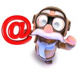 3d Funny cartoon pilot airman character holding an email address symbol. 3d render of a funny cartoon pilot airman character holding an email address symbol stock illustration