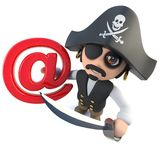 3d Funny cartoon pirate captain holding an email address symbol. 3d render of a funny cartoon pirate captain holding an email address symbol Stock Photo