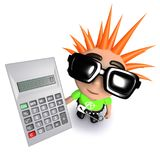 3d Funny cartoon punk youth holding a calculator. 3d render of a funny cartoon punk youth holding a calculator Stock Photography