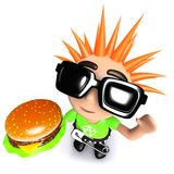 3d Funny cartoon punk youth holding a cheese burger vector illustration