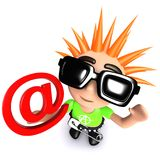 3d Funny cartoon punk youth holding an email address symbol. 3d render of a funny cartoon punk youth holding an email address symbol Stock Image
