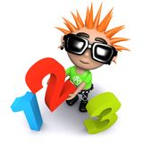 3d Funny cartoon punk youth holding numbers. 3d render of a funny cartoon punk youth holding numbers Stock Image