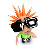 3d Funny cartoon punk youth looking confused. 3d render of a funny cartoon punk youth looking confused Royalty Free Stock Photography