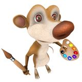 3d Funny cartoon rat char marsupial character painting with a paintbrush Royalty Free Stock Images