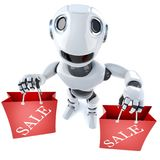 3d Funny cartoon robot character carrying two shopping sale bags. 3d render of a funny cartoon robot character carrying two shopping sale bags Stock Photo