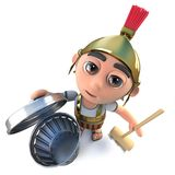 3d Funny cartoon Roman soldier character cleaning with a broom and trash can Stock Image