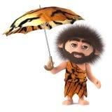 3d Funny cartoon savage caveman holding an animal skin umbrella. 3d render of a funny cartoon savage caveman character holding an animal skin umbrella Royalty Free Stock Image