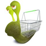 3d Funny cartoon snail bug character carrying a shopping basket. 3d render of a funny cartoon snail bug character carrying a shopping basket Royalty Free Stock Image