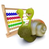 3d Funny cartoon snail playing with an abacus. 3d render of a funny cartoon snail playing with an abacus Royalty Free Stock Photography
