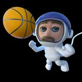 3d Funny cartoon spaceman astronaut character chasing basketball in space. 3d render of a funny cartoon spaceman astronaut character chasing basketball in space Royalty Free Stock Images