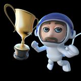3d Funny cartoon spaceman astronaut character chasing a gold cup. 3d render of a funny cartoon spaceman astronaut character chasing a gold cup Royalty Free Stock Photography