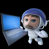 3d Funny cartoon spaceman astronaut character chasing a laptop in space Stock Photo