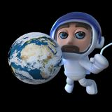 3d Funny cartoon spaceman astronaut character with globe of Earth in space. 3d render of a funny cartoon spaceman astronaut character with globe of Earth in Stock Photos
