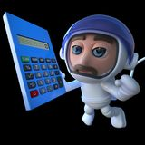 3d Funny cartoon spaceman astronaut holding a calculator. 3d render of a funny cartoon spaceman astronaut holding a calculator Stock Images