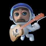 3d Funny cartoon spaceman astronaut playing an acoustic guitar in space. 3d render of a funny cartoon spaceman astronaut playing an acoustic guitar in space Stock Photography