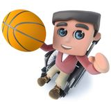 3d Funny cartoon teenager in a wheelchair character playing basketball. 3d render of a funny cartoon teenager in a wheelchair character playing basketball Royalty Free Stock Photos