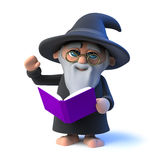 3d Funny cartoon wizard character reads from his book magic spells Royalty Free Stock Image