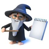 3d Funny cartoon wizard magician character points his wand at a notepad Royalty Free Stock Images