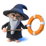 3d Funny cartoon wizard magician character points to a life ring with his magic wand. 3d render of a funny cartoon wizard magician character points to a life Royalty Free Stock Images