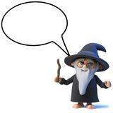 3d Funny cartoon wizard magician character with speech balloon. 3d render of a funny cartoon wizard magician character with speech balloon royalty free illustration