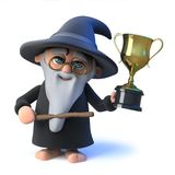 3d Funny cartoon wizard magician has won the gold trophy of success Royalty Free Stock Photo
