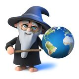 3d Funny cartoon wizard magician points to a globe of the earth with his magic wand. 3d render of a funny cartoon wizard magician points to a globe of the earth Stock Photo
