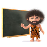 3d Funny caveman at the blackboard Royalty Free Stock Photo