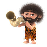 3d Funny caveman blows his horn Stock Photography