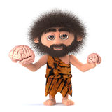 3d Funny caveman compares two human brains. 3d render of a funny caveman holding two different sized human brains Royalty Free Stock Image