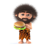 3d Funny caveman eats a beef burger Royalty Free Stock Photography