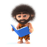 3d Funny caveman enjoys reading a book Stock Photo