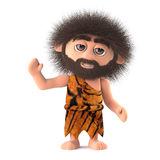 3d Funny caveman waves hello Royalty Free Stock Photos