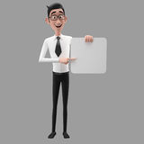 3d funny character, cartoon sympathetic looking business man Stock Image
