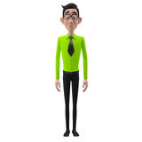 3d funny character, cartoon sympathetic looking business man Royalty Free Stock Photo