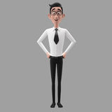 3d funny character, cartoon sympathetic looking business man. Dear person in suit with glasses and tie royalty free stock image