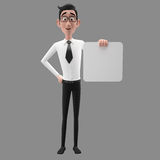 3d funny character, cartoon sympathetic looking business man Royalty Free Stock Images