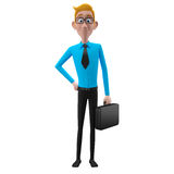 3d funny character, cartoon sympathetic looking business man Royalty Free Stock Photography