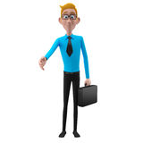 3d funny character, cartoon sympathetic looking business man Stock Photos