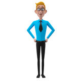 3d funny character, cartoon sympathetic looking business man Royalty Free Stock Photos