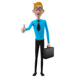 3d funny character, cartoon sympathetic looking business man Stock Photo