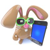 3d Funny chocolate Easter bunny rabbit holding a smartphone. 3d render of a funny chocolate Easter bunny rabbit holding a smartphone Royalty Free Stock Image