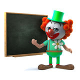 3d Funny clown character stands by a blackboard Royalty Free Stock Image