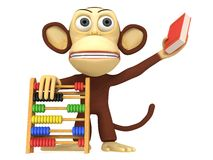 3d funny monkey with abacus and book. 3D render isolated on white Stock Photography
