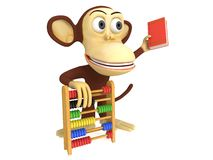3d funny monkey with abacus and book. 3D render isolated on white Stock Photo