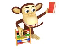 3d funny monkey with abacus and book. 3D render isolated on white Royalty Free Stock Photo
