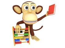 3d funny monkey with abacus and book. 3D render isolated on white Royalty Free Stock Photos