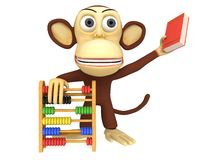 3d funny monkey with abacus and book. 3D render isolated on white Stock Image