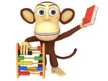 3d funny monkey with abacus and book Stock Image